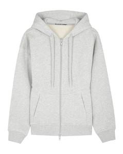 Light grey hooded cotton sweatshirt