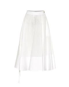 褶裥棉質混紡中長半身裙