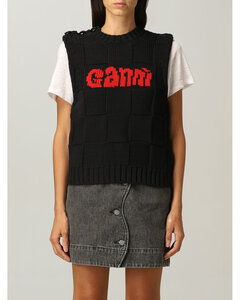 vest in cotton blend with logo