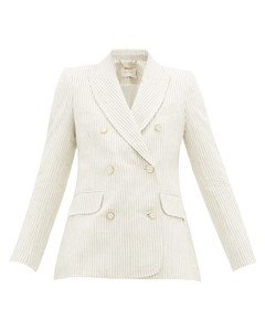 Super Eight double-breasted striped linen blazer