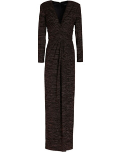 Check Sleeve Knit Dress Sepia Gray