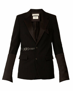 Satin-trim belted single-breasted wool blazer