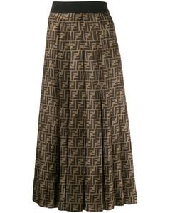 波浪褶中长半身裙
