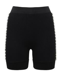 Embellished Rib Knit Cycling Shorts