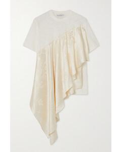 Asymmetric Ruffled Satin-jacquard And Cotton-jersey T-shirt