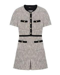 Contrast-Trim Tweed Mini Dress