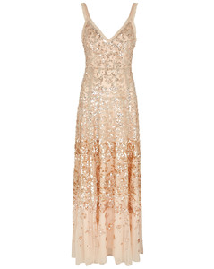Patchwork sequin-embellished tulle gown