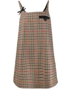 houndstooth-pattern shift dress