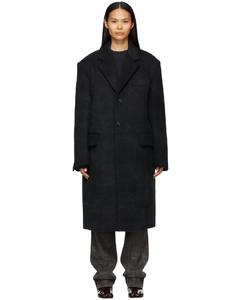 黑色拉绒大衣
