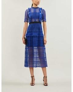 Short-sleeved geometric-lace midi dress