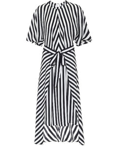Striped silk asymmetric midi dress