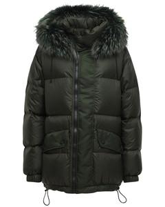 Nylon Down Jacket W/ Fur Trim