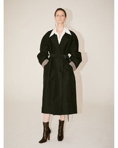 AMBRE Volume Sleeve Belted Trench Coat (Black)