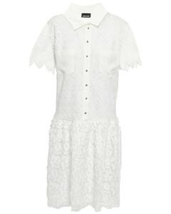Crochet and fil coupéchiffon mini dress