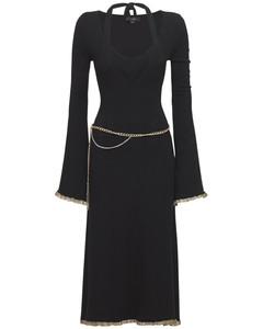 Flared Double Viscose Blend Midi Dress