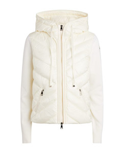 Quilted-Panel Hooded Cardigan