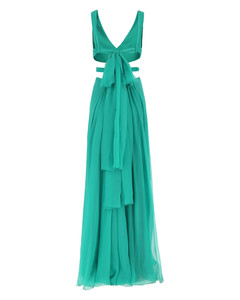 Metope floral and landscape silk-crepe robe