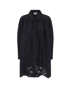 The Cotton Weave Collarless Shirtdress