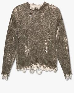 Georgina oatmeal stretch-knit jumper