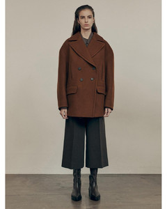 Double Breasted Peacoat_Brown