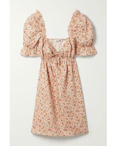 Net Sustain Channa Ruffled Floral-print Linen Mini Dress