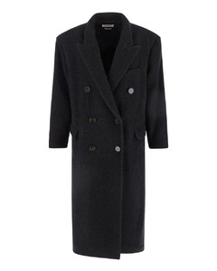 Isabel marant black double breasted coat in wool with button closure.