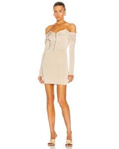 Open Neck Mini Dress in Neutral