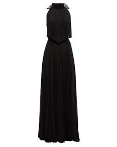 Open-back pleated silk-chiffon gown