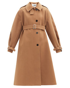 Belted wool-blend canvas trench coat