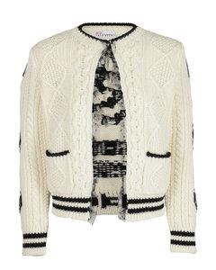 Ribbed virgin wool cardigan