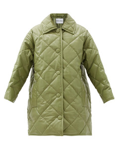 Jacey diamond-quilted padded faux-leather coat