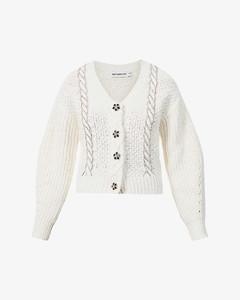 Rhinestone-embellished cotton and wool-blend cardigan