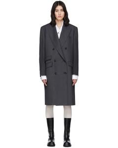 灰色精裁双排扣大衣