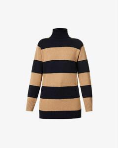 Nastro stripe turtleneck wool and cashmere-blend jumper