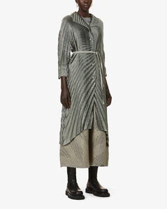 Belted pleated woven coat