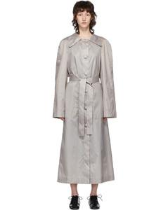 灰色油蜡涂层真丝风衣