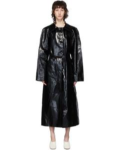 黑色乙烯基涂层亚麻风衣