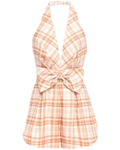 Woman Bow-embellished Checked Linen Halterneck Playsuit