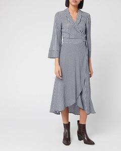 Women's Checked Printed Crepe Wrap Dress - Brunnera Blue