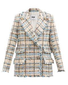 Double-breasted check cotton-blend tweed jacket