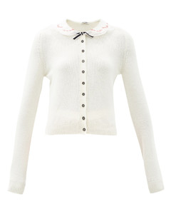 Embroidered-collar cashmere cardigan