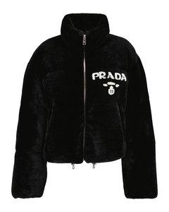 Logo shearling jacket