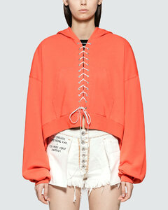 French Terry Lace Up Hoodie Faded Orange