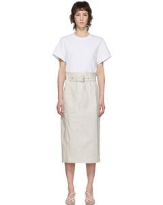 白色工裝束帶T恤連衣裙
