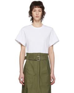 白色&綠色工裝束帶T恤連衣裙