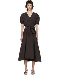 棕色Utility抽褶連衣裙