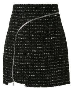 曲线形拉链粗花呢半身裙