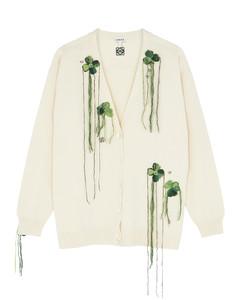 Ivory appliquéd wool cardigan