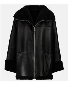 羊毛皮衬里皮革夹克