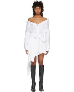 白色不对称解构衬衫连衣裙